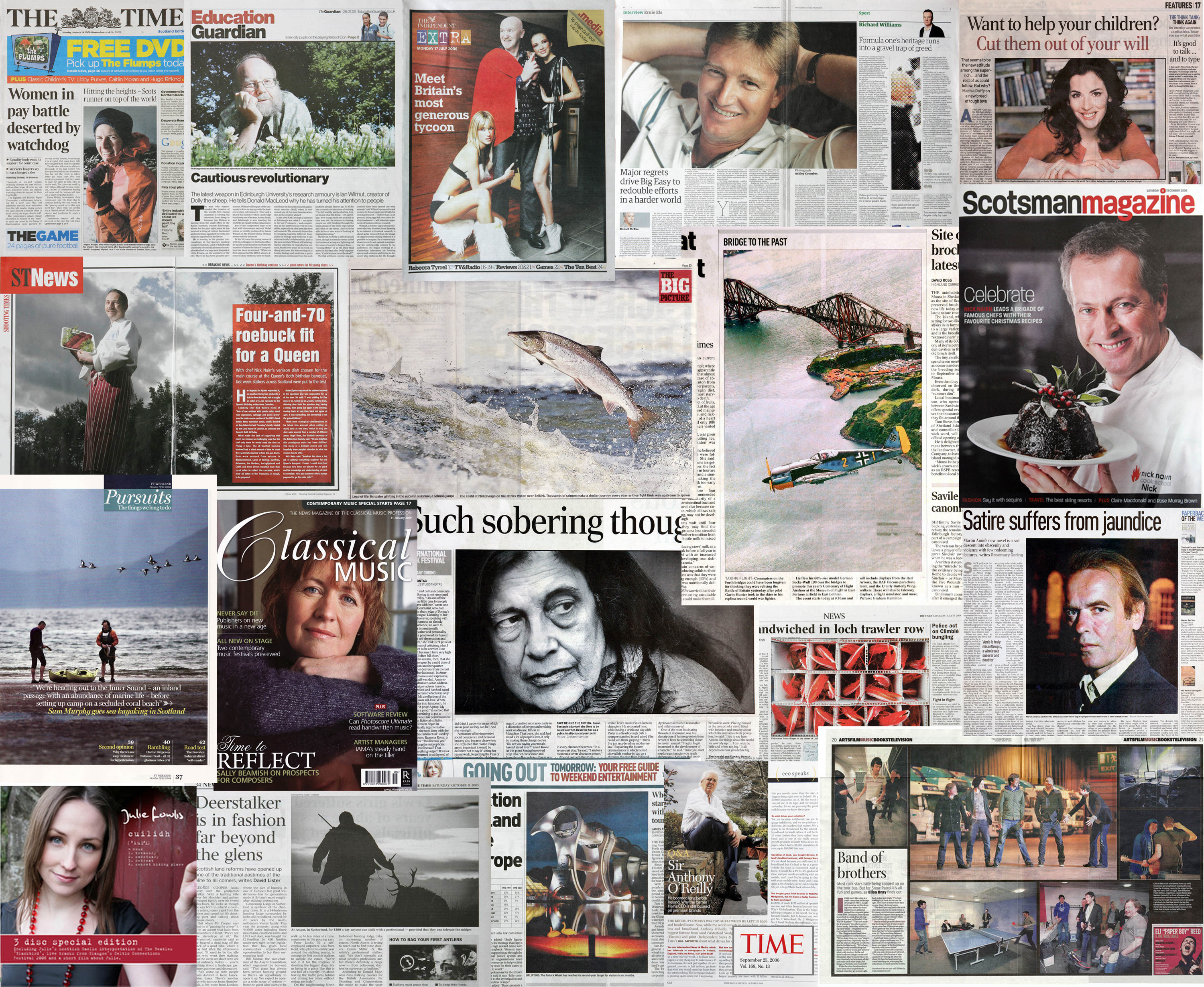 newspaper and magazine tear sheets