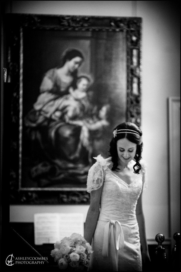 Gathering her thoughts before the wedding at Pollok House.