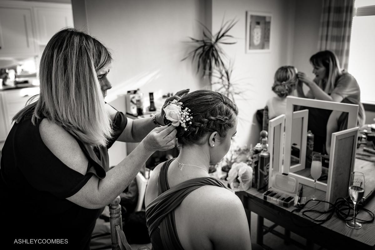 Bridal preparations hair and makeup