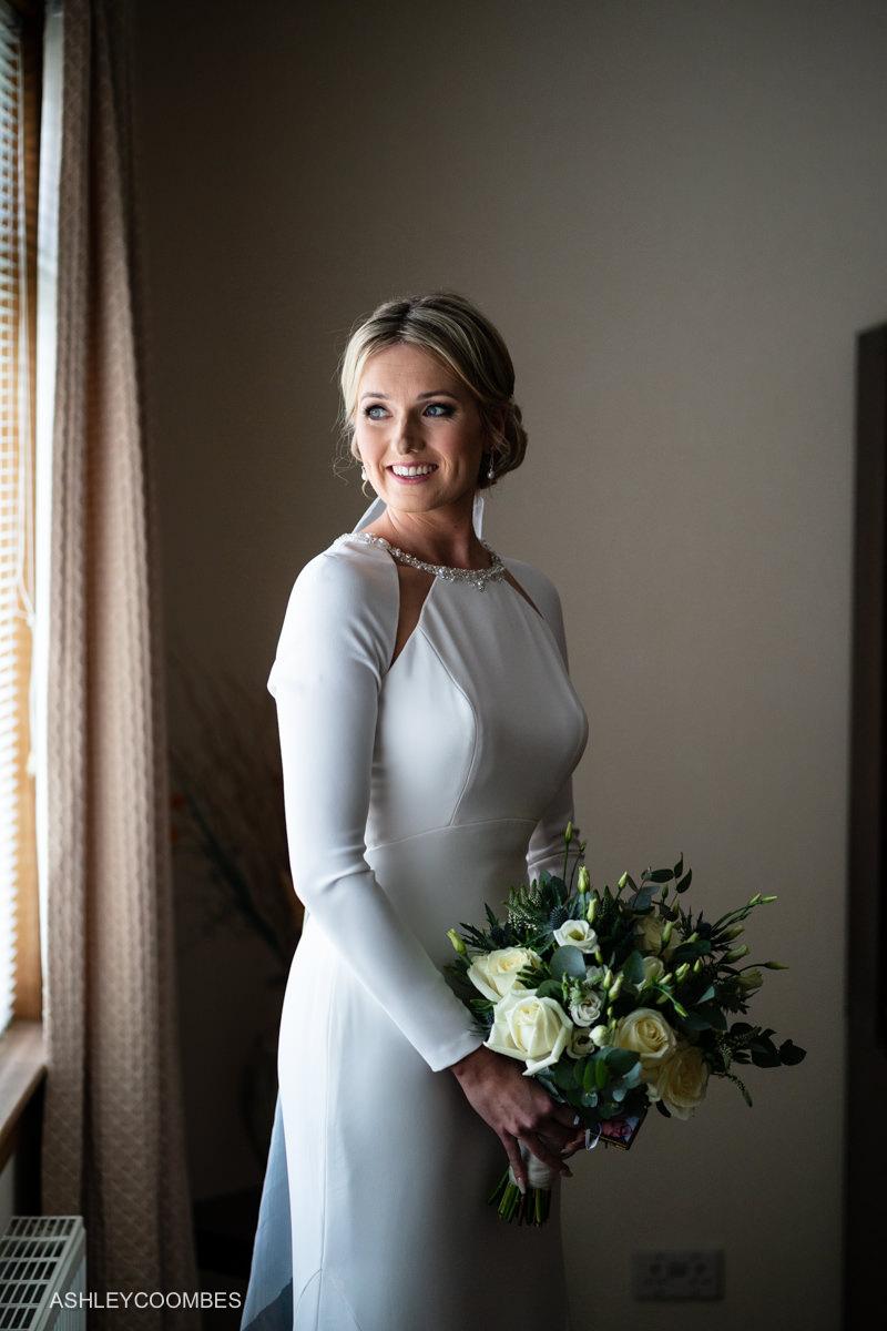 Bride portrait in window light