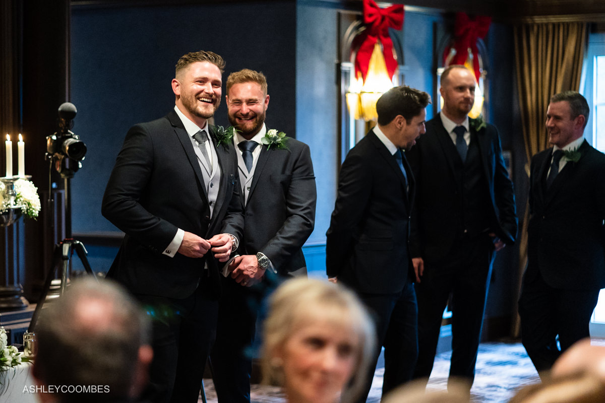 groom with best man and ushers