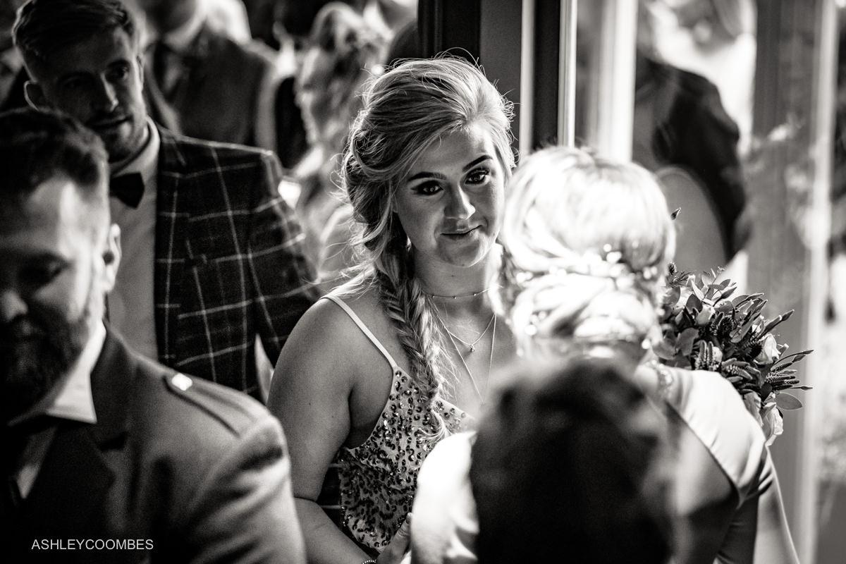 guest greets bride