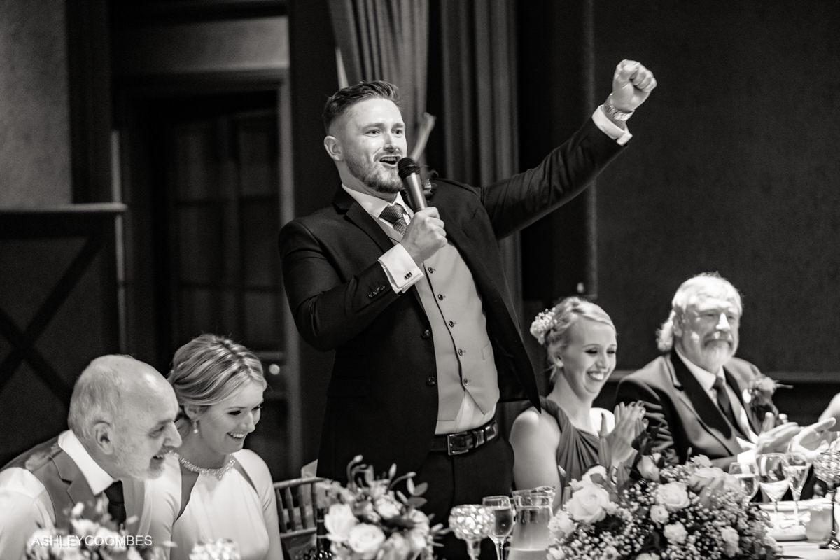 groom speech cheering
