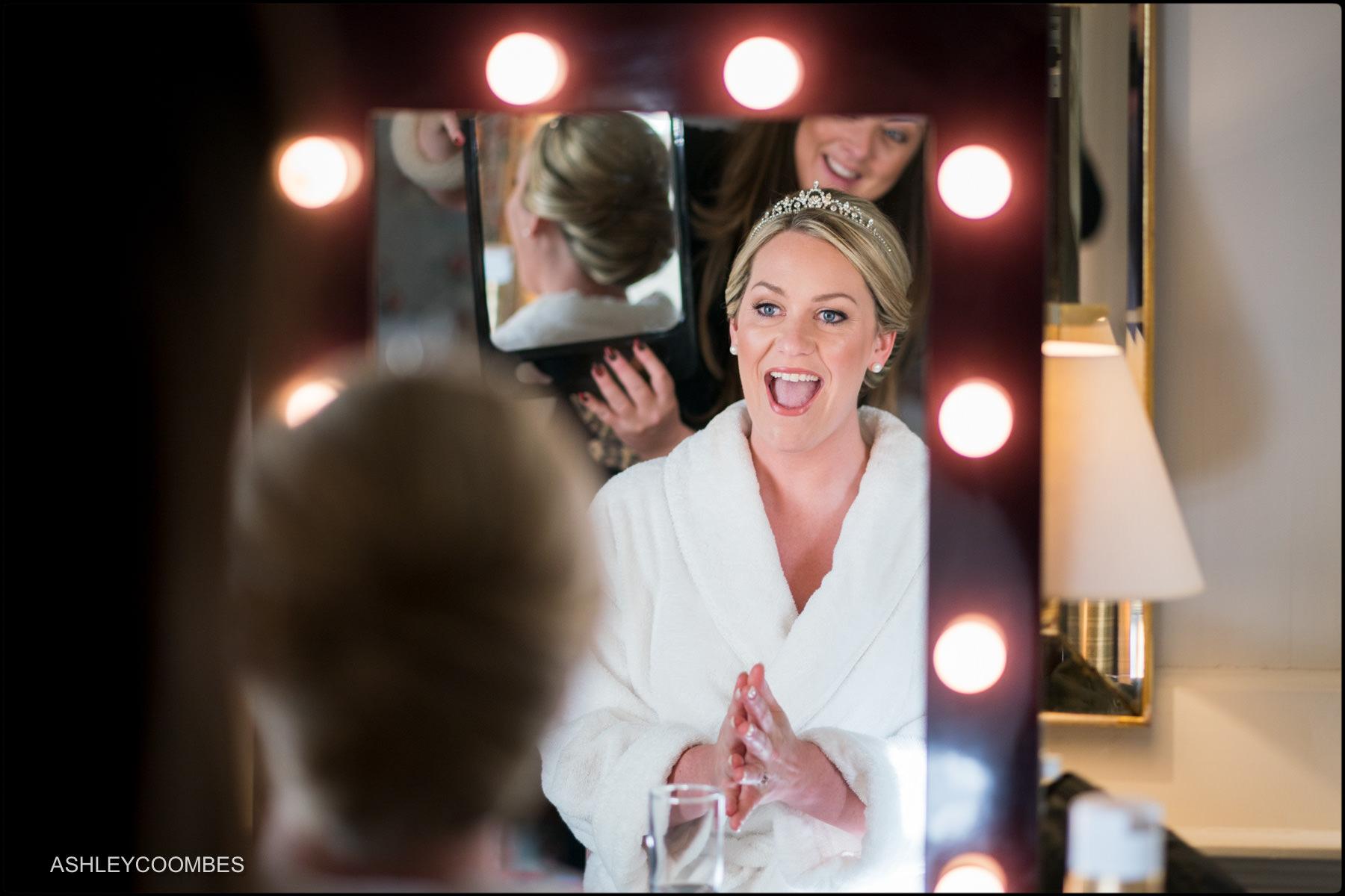 bride happy with hair
