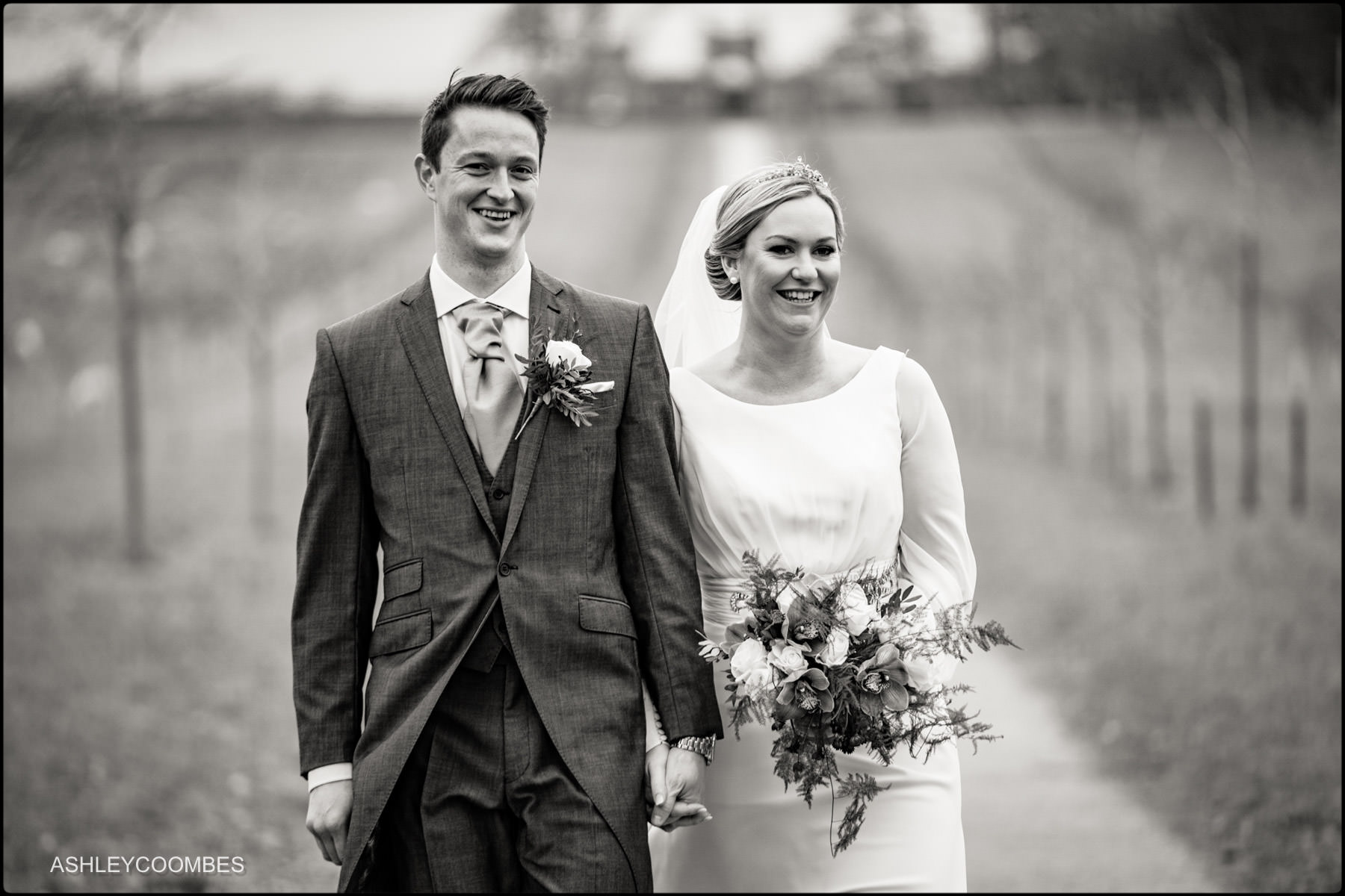 bride and groom walking closeup angle