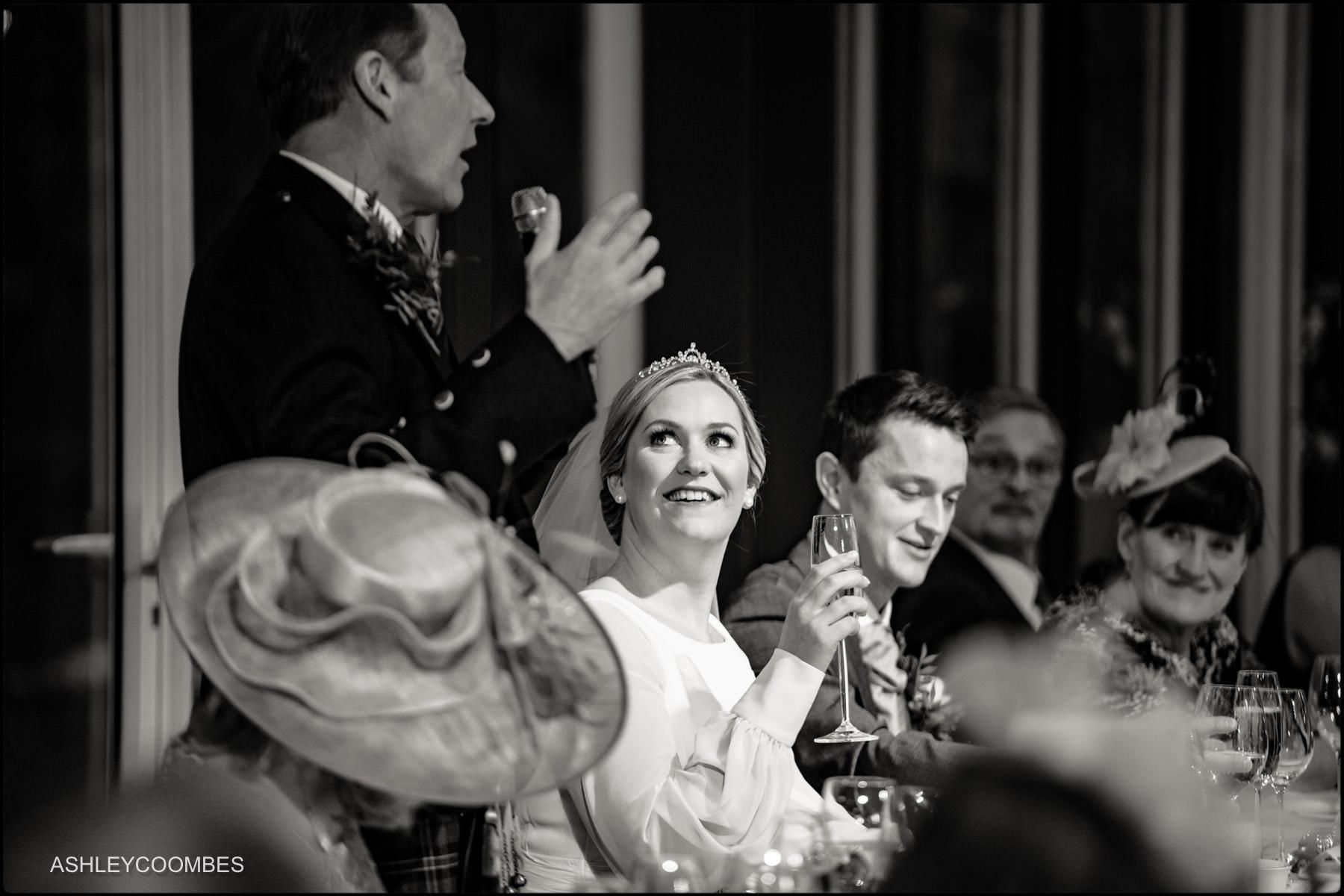 bride looks at dad