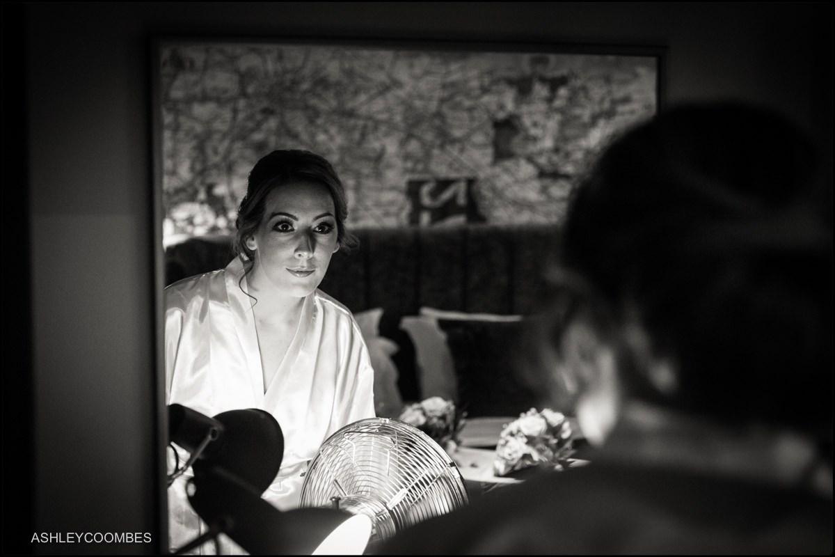 Natalie getting ready at Malmaison