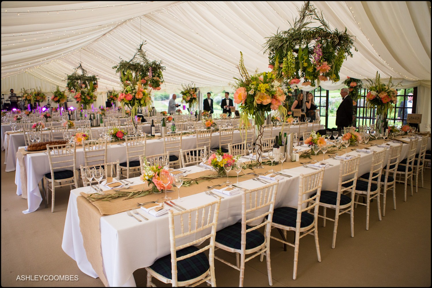 Duntreath Castle wedding marquee flowers