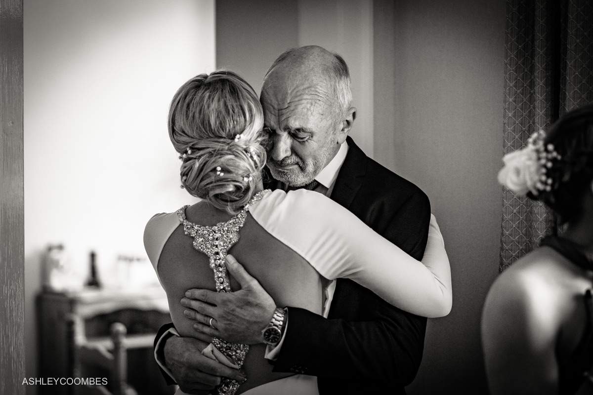 Bride father embrace