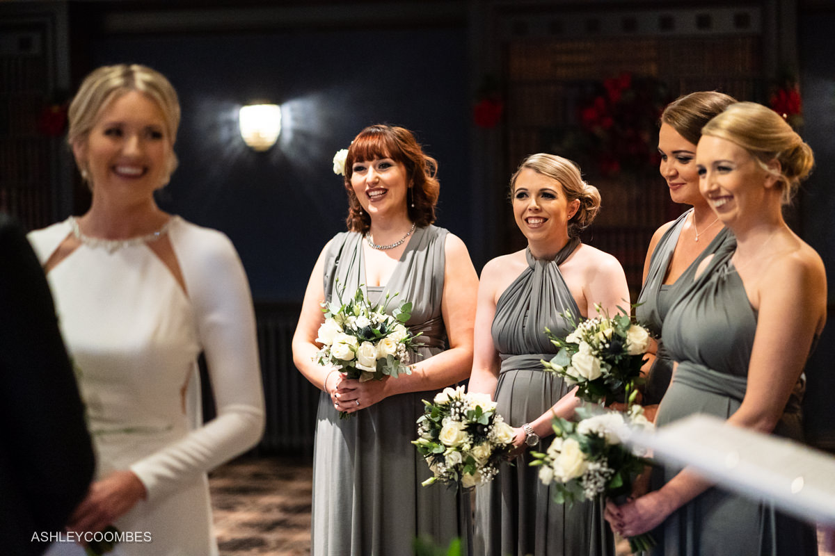 bridesmaids in a line