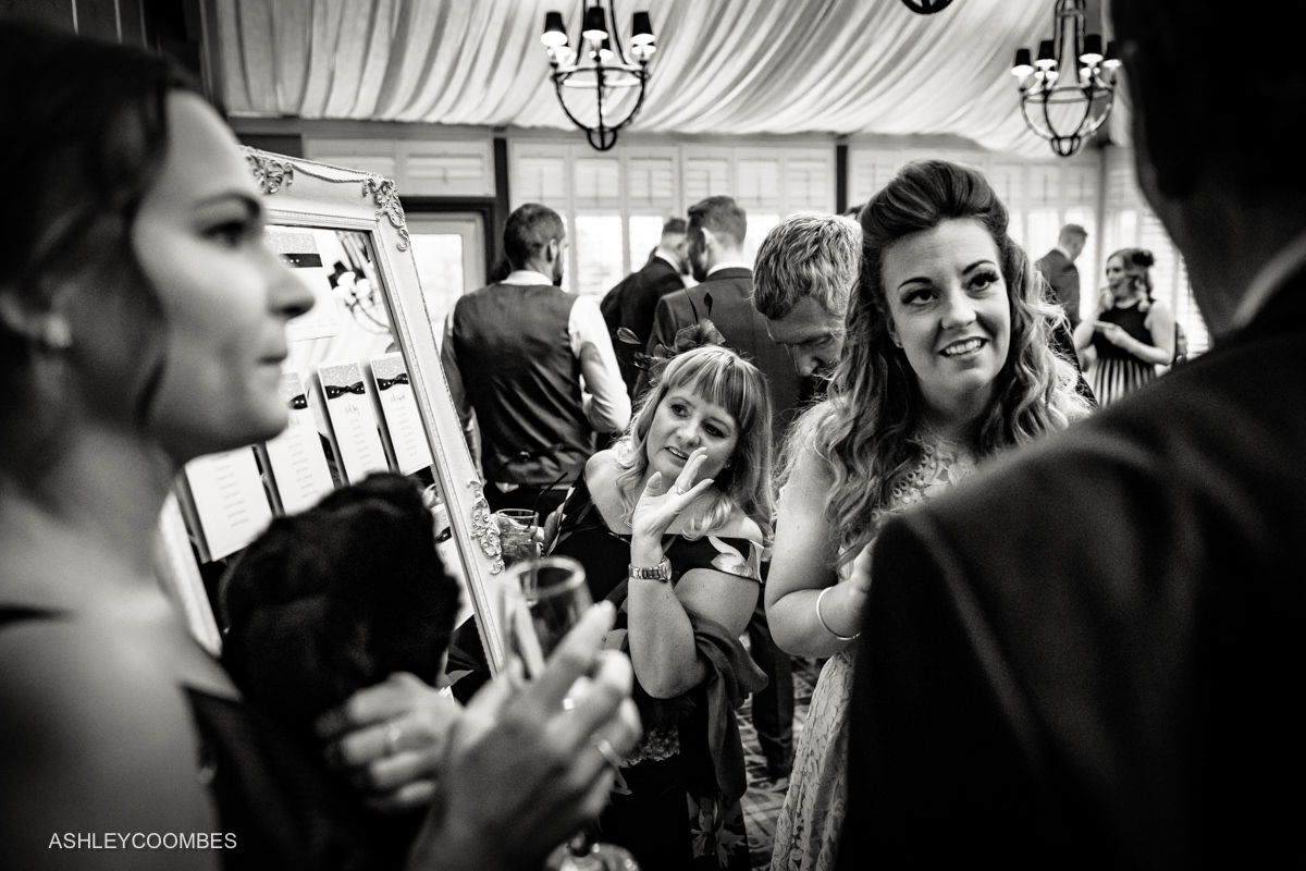 wide angle photo of reception chat
