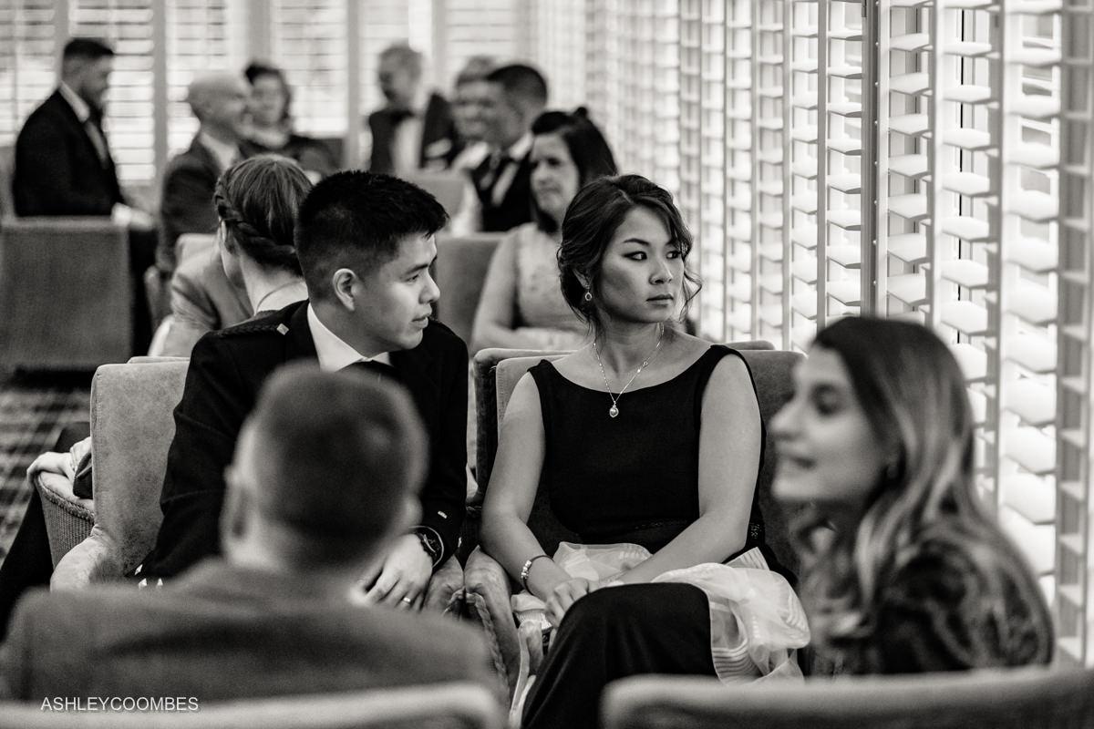 reception black and white photo